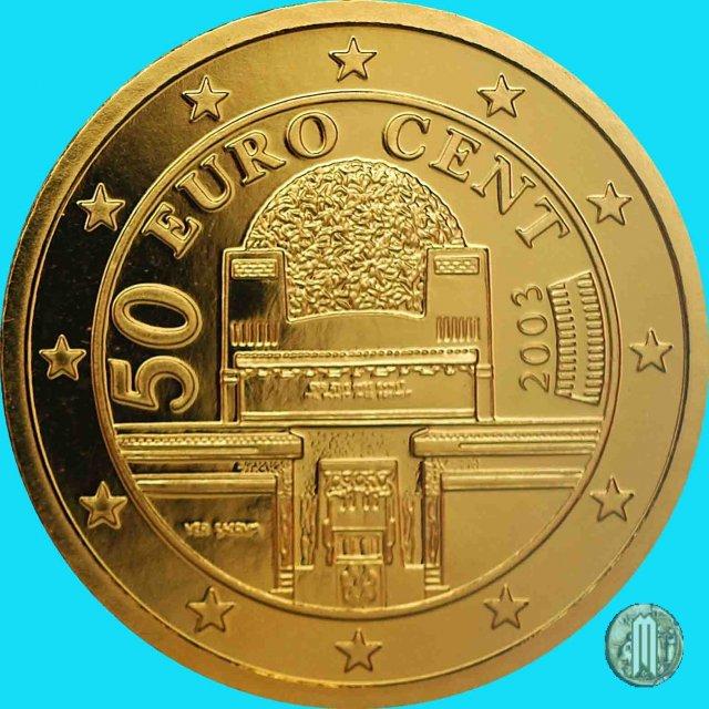Immagine di una moneta da 50 centesimi di euro 2003 vienna for Moneta 50 centesimi