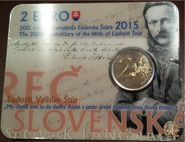 2 Euro 2015 200° anniv. nascita L'udovít Štúr 2015 (Kremnica)